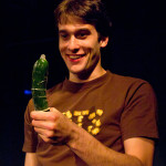 """Man with zucchini and condom as seen in """"The Gene Pool"""" at Annex Theatre, Capitol Hill, Seattle"""